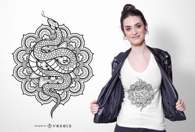 Diseño de camiseta mandala de serpiente
