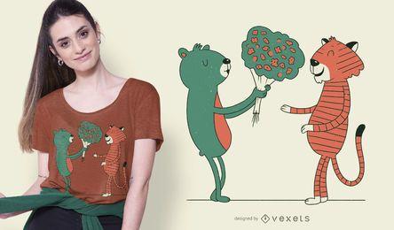 Diseño de camiseta de flores de oso y tigre.