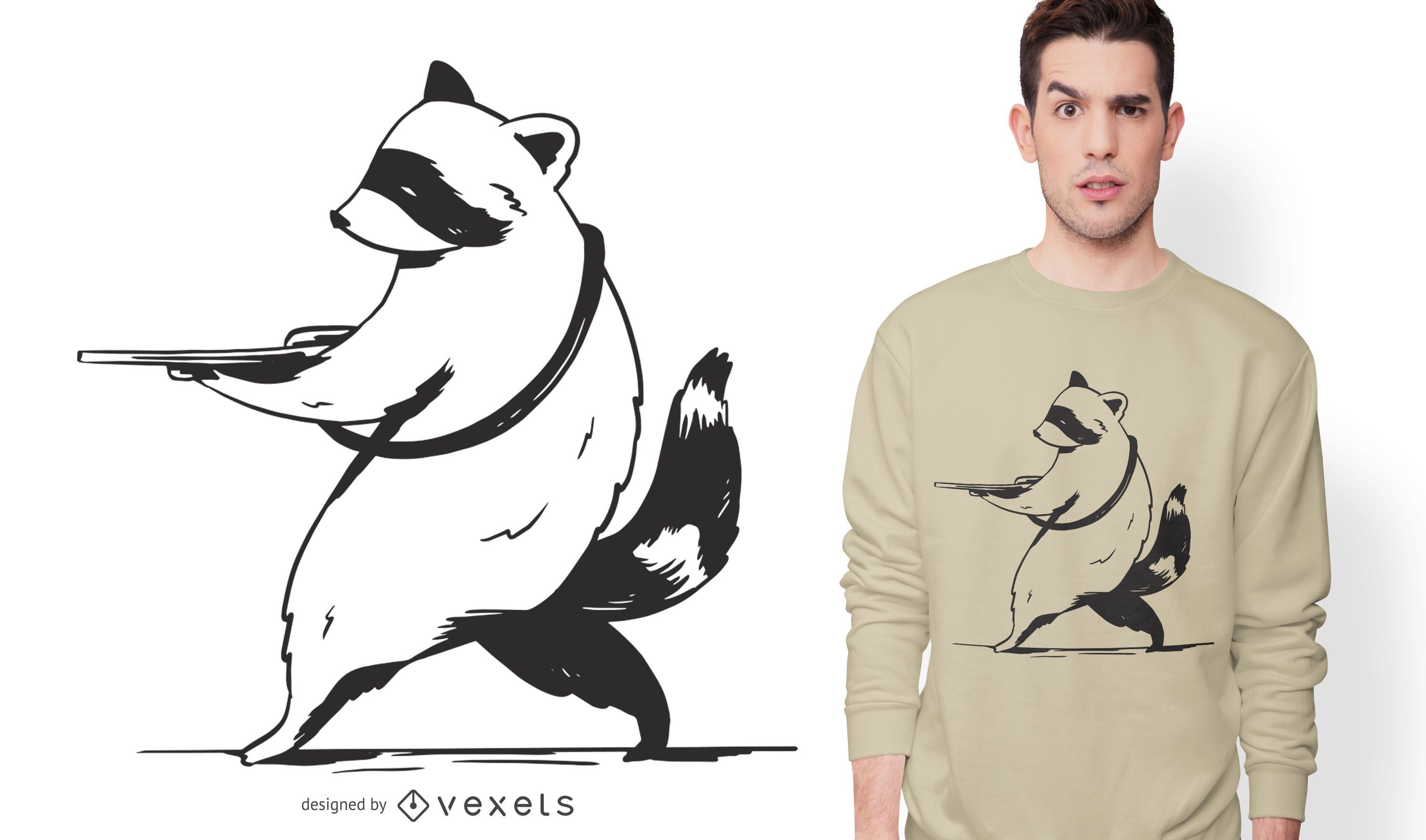 Diseño de camiseta de arma de mapache