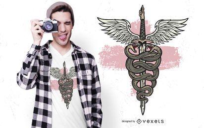 Design de t-shirt de espada de Asclépio