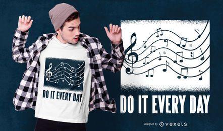 Diseño de camiseta de texto musical
