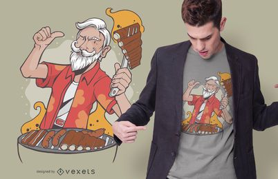 Cool BBQ Grandpa T-shirt Design