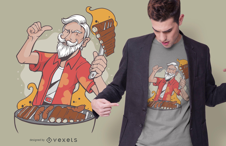 Cool BBQ Grandpa T-shirt Design