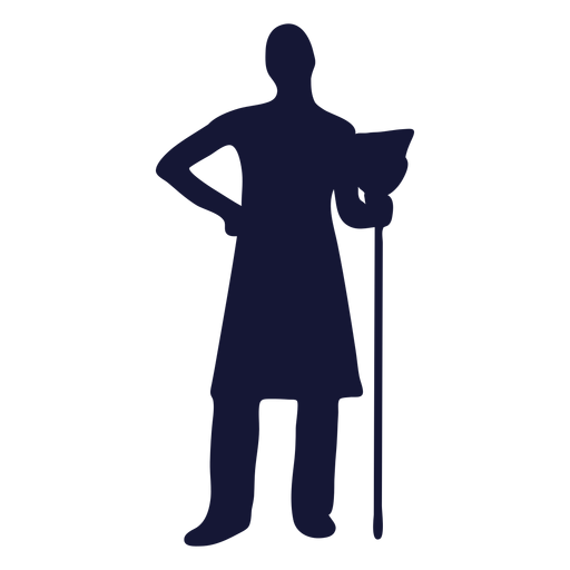 Cleaner broom silhouette