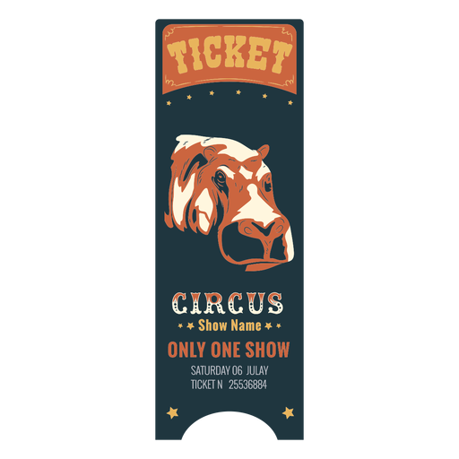 Colored circus ticket