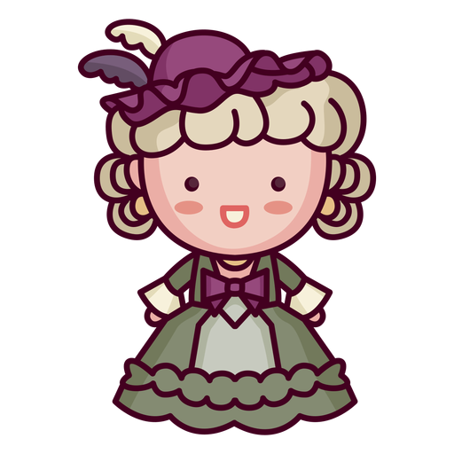 Cute french character cute woman old era Transparent PNG