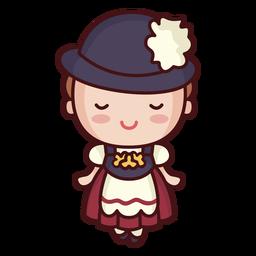 Linda dama vestido alemán