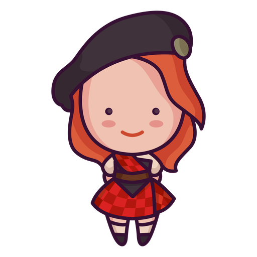 Cute scottish character cute woman Transparent PNG