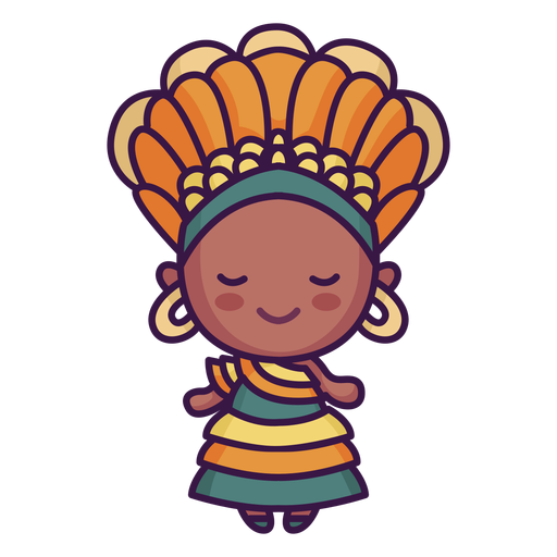 Cute woman with headdress Transparent PNG