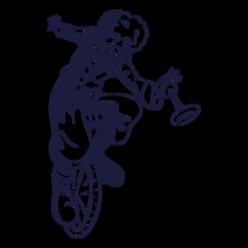 Cycling clown drawn