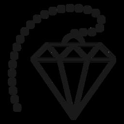 Icono de trazo de cristal de diamante