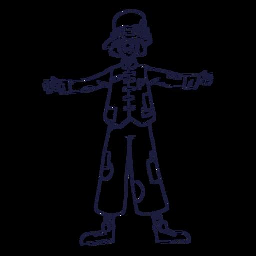 Drawn clown circus character