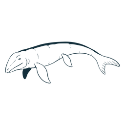 Lagarto mosasaurio dibujado