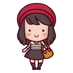 French character cute style woman