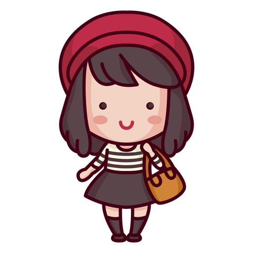 French character cute style woman Transparent PNG