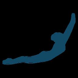 Silhueta de menina subaquática com mãos levantadas