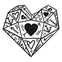 Corazones de cristal en forma de corazón