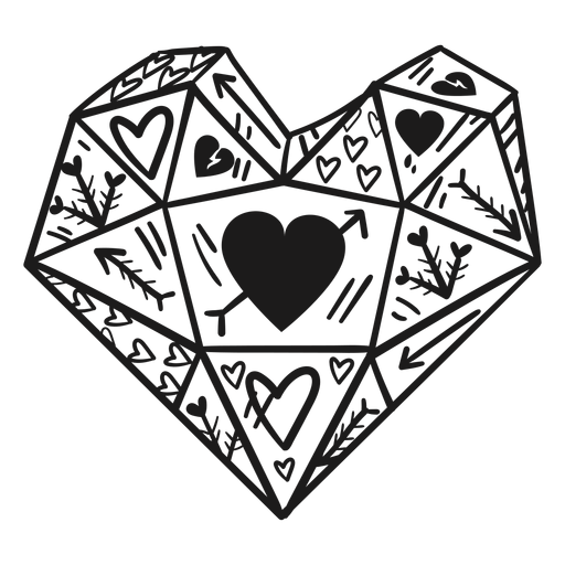 Heart shaped crystal hearts Transparent PNG