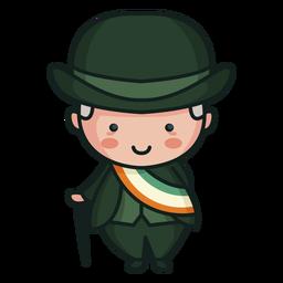 Carácter irlandés lindo hombre bandera tricolor