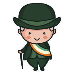 Irish character cute man tri color flag