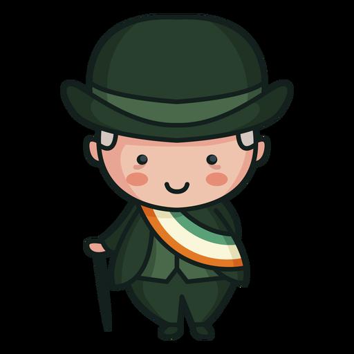 Irish character cute man tri color flag