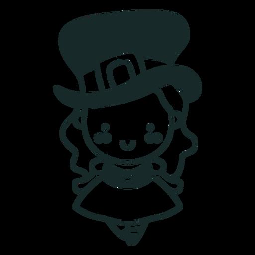 Irish character stroke cute girl Transparent PNG