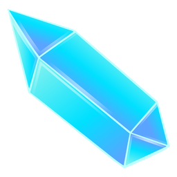 Long pretty blue prism crystal