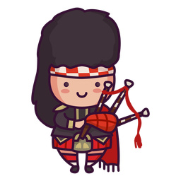 Man scottish character cute bagpipes
