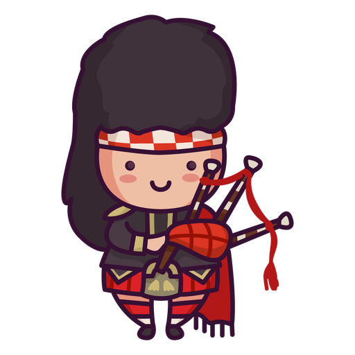 Man scottish character cute bagpipes Transparent PNG