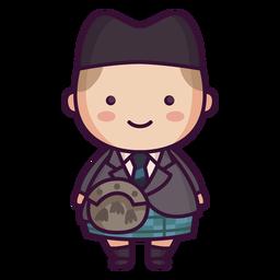 Homem tartan kilt escocês personagem bonito