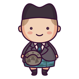 Man tartan kilt scottish character cute