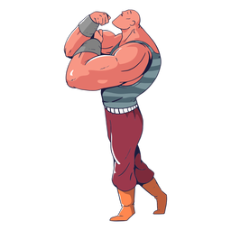 Muscular guy circus colorful