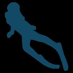 Bela silhueta de menina subaquática