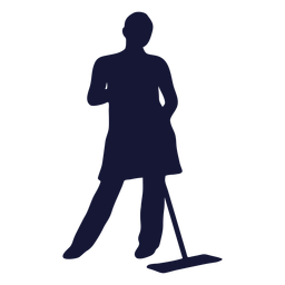 Pose cleaner mopping silhouette