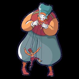 Personagem de circo marionetista colorido