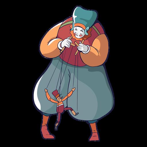 Titiritera circo personaje colorido