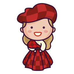 Scottish character cute tartan dress