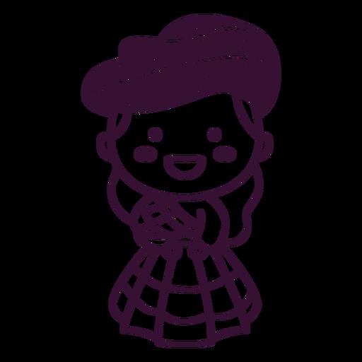 Scottish character cute tartan dress stroke