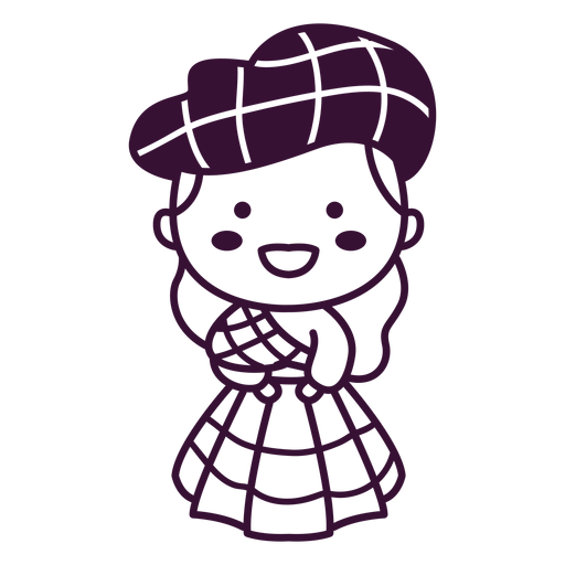 Trazo de vestido de tart?n lindo personaje escoc?s