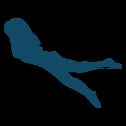 Silhueta de menina subaquática de vista lateral