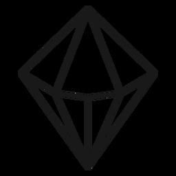 Icono de trazo de cristal en forma de diamante