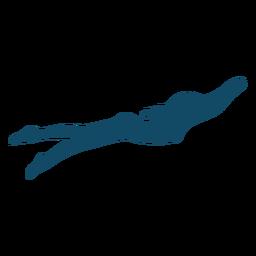 Silhueta subaquática de pose de natação
