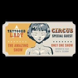 Bilhete de circo senhora tatuada