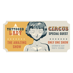 Tattooed lady circus ticket