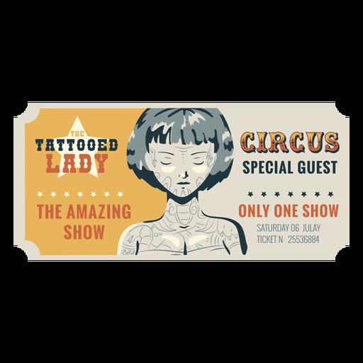 Boleto de circo de mujer tatuada Transparent PNG
