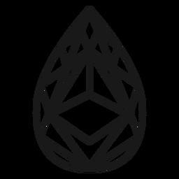 Icono de trazo de cristal de gota de lágrima