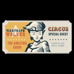 Bilhete de circo na corda bamba