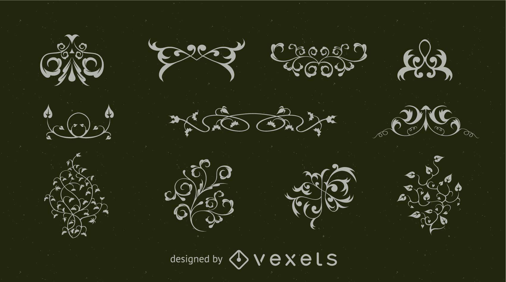 Colección de adornos y florituras