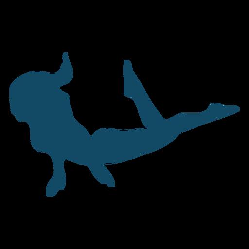 Underwater swim girl silhouette