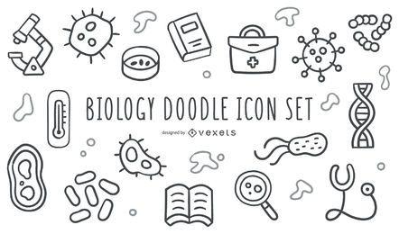 Conjunto de ícones de doodle de biologia